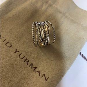 David yurman 925&18k double x crossover ring s6.5